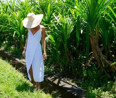 Wrap Dress - White Linen Wrap around Dress, Beach Dress, Ladies Fashion
