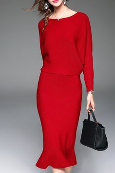 Blueoxy Red Batwing Sweater And Mermaid Skirt   Sweater Dresses at DEZZAL