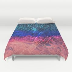 Rainbow neon light Cracked out Glass pattern DUVET COVER  #duvetcover #painting #oil #acrylic #typography #pattern #abstract #vangogh #starrynight #broken #rupture #damaged #crackedout #lifequotes #retro #neonlight #glass