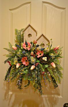 Wooden Birdhouse Garden Door/Wall Arrangement by kristenscreations on Etsy Summer Wreath, Spring Wreaths, Fall Door Decorations, Garden Doors, Door Wall, Exterior Paint, Bird Houses, Flower Arrangements, Beautiful Flowers