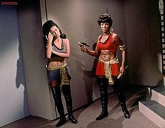 """grapnel:    Barbara Luna and Nichelle Nichols between takes, during the filming of the """"Mirror, Mirror"""" episode of Star Trek,ca. 1967"""
