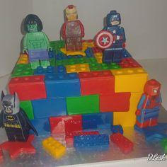 #lego #superheroes #batman #ironman #hulk #captainamerica #spiderman #cake #dlish Spiderman, Batman, Cakes For Boys, Hulk, Birthday Cakes, Captain America, Iron Man, Lego, Spider Man