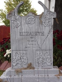 elizabeth is by far my most favorite stone that ive made cemetery halloween tombstoneshalloween graveyardhalloween