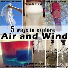5 ways to explore Air and Wind through experiments on Hot and Cold air movements as well as air pressure, two DIY crafts making your own weathervane and wind chimes from recyclables, an experiment with a tornado in a jar plus printable worksheet