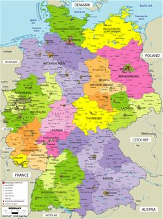 Germany | all of germany s lands and major cities the map of germany is colour ...