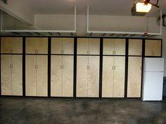 a_Garage Cabinets (8) Garage Tool Storage, Garage Tools, Garage Organization, Garage Ideas, Cabinet Shelving, Garage Shelving, Shelves, Organized Garage, Cool Garages