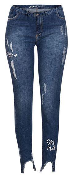 a8f8ecc760 Calça Jeans Cigarrete Cintura Média Estampas - Calça jeans cigarrete com  cintura média