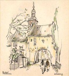 Reproductieprent, voorstellende de Huizerpoort te Buren, vervaardigd naar prent van A. Frederiks, 1950-1970 | Collectie Gelderland