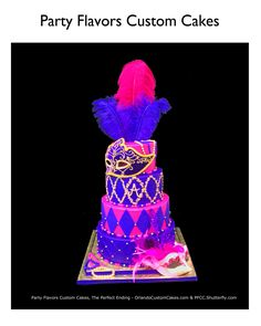 Fuchsia Feather Mask Sweet 16 Birthday Cake by Party Flavors Custom Cakes Sweet 16 Birthday Cake, 16th Birthday, Birthday Cakes, Birthday Ideas, Sweet Sixteen Cakes, Sweet 16 Cakes, Gorgeous Cakes, Amazing Cakes, Sweet 16 Parties