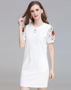 #AdoreWe #VIPme (VIPSHOP Global) SFEISHOW White Blossom Print Cotton Slim Fit Dress - AdoreWe.com