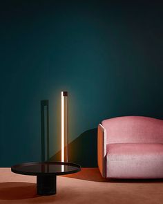 Luxury furniutre , pink sofa ,roudn center table and modern floor lamp