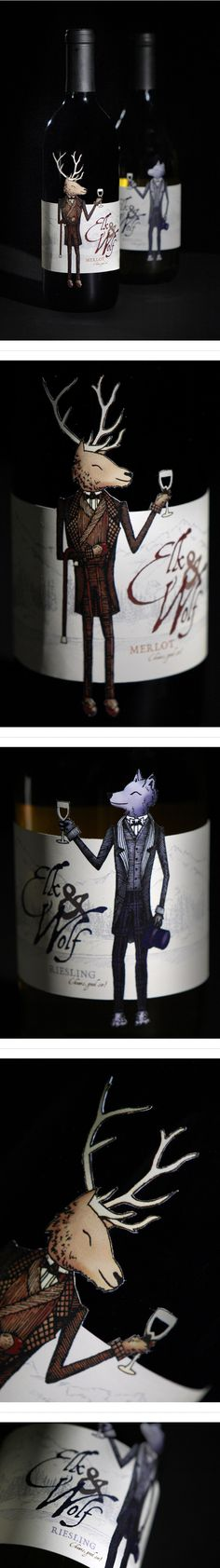 Elk Wolf Wine  by Lisa Lorek. How cute is this #wine #packaging PD
