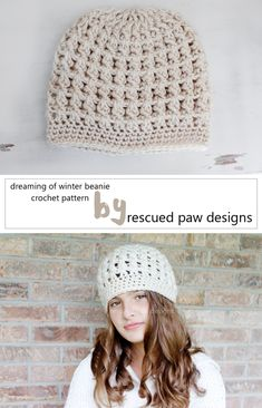 Crochet Beanie Pattern - Dreaming of Winter Beanie Crochet Pattern Rescued Paw Designs ~ luv the design of this stylish beanie. Crochet Adult Hat, Bonnet Crochet, Crochet Beanie Pattern, Crochet Cap, Crochet Scarves, Crochet Clothes, Crochet Hooks, Free Crochet, Crochet Patterns