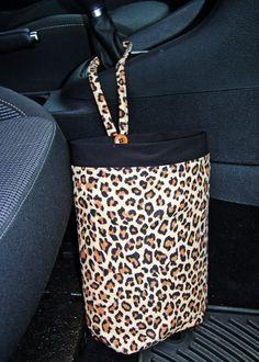Car Trash Bag Leopard print car accessories by | http://carsandsuchcollections.blogspot.com
