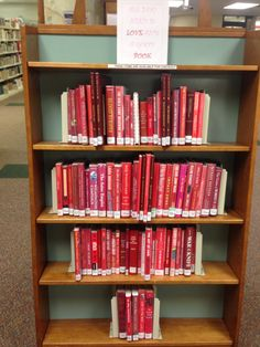 Valentine's Day heart of red books library display