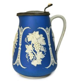 Jasperware Blue and White Ceramic Jug with Pewter Lid, in Wedgwood Style Antique English, Early 19th Century