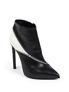 Saint Laurent - Paris Bottine Zipper-Trim Leather Ankle Boots