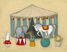 At the Circus print by Marisa Haedike. 13x19. $95