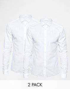 d1eff423ea93cf 2 for $55 - ASOS Skinny Shirt 2 Pack In White With Long Sleeves SAVE 15