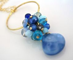 Aquamarine blue and gold necklace from A Cup of Sparkle