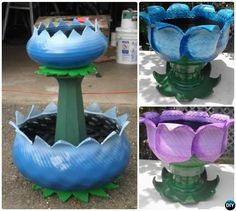 DIY Tire Planter Flower Pot-DIY Tire Planter Ideas DIY Recycled Tire Planter Ideas for Your Garden: Turn old tires into beautiful planters for gardening and garden decoration. Garden Crafts, Diy Garden Decor, Garden Projects, Yard Art Crafts, Flower Planters, Flower Pots, Old Tire Planters, Urban Balcony, Tire Craft