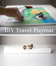 This is a super fun project for kids to make for themselves or their pals.  A design-your-own travel playmat.