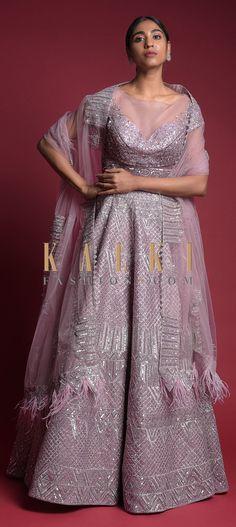 Buy Online from the link below. We ship worldwide (Free Shipping over US$100)  Click Anywhere to Tag Mauve Lehenga Choli In Organza With Matching Dupatta Having Feathers On The Border Online - Kalki Fashion Mauve lehenga choli in organza heavily embroidered with zari and sequins in geometric pattern all over.Designed with illusion neckline and sheer cut waist, cap sleeves and back with bead fringes. Lehenga Choli, Sari, Illusion Neckline, Baby Girl Dresses, Fringes, Mauve, Cap Sleeves, Feathers