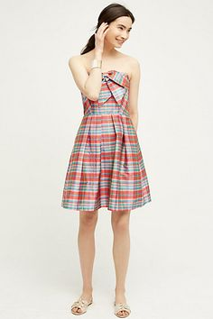 Ribboned Plaid Dress #anthropologie