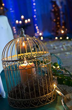 Birdcage centerpieces - add flowers to the top of this Bird Cage Centerpiece, Centerpieces, Enchanted Forest Theme, Forest Themes, Candle Lanterns, Candles, Our Wedding, Wedding Ideas, Wedding Decor