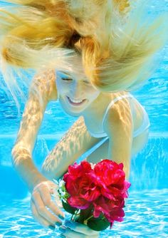 Underwater Girl with rose #valentinesday