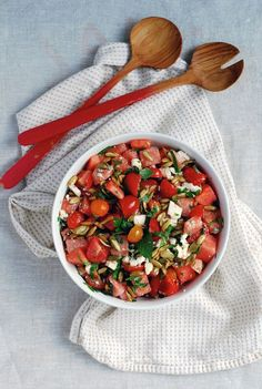 Herbed Watermelon Salad with Cherry Tomatoes, Feta, and Toasted ...
