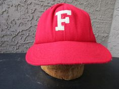 Red Fitted F Baseball Hat Derby Cap Co Louisville by GeekGirlRetro