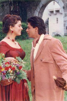 juhi chawla and shah rukh khan Vintage Bollywood, Bollywood Girls, Bollywood Actors, Shahrukh Khan And Kajol, Shah Rukh Khan Movies, Indian Actresses, Actors & Actresses, Kabir Khan, Aladdin Movie