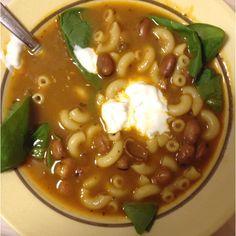 Soup - Pork broth made from roasted neckbones. Beans are favas. Elbow macaroni. It is Pasta Fagioli meets Hu Tieu!