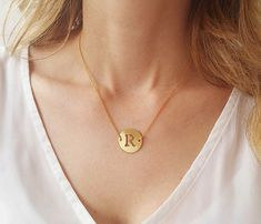 Check out this item in my Etsy shop https://www.etsy.com/il-en/listing/259067045/gold-initial-charm-necklace-disc-letter