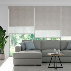 Blinds And Curtains Living Room, Bedroom Blinds, House Blinds, Living Room Windows, Blinds Curtains, Window Blinds, Modern Roller Blinds, Double Roller Blinds, Modern Blinds