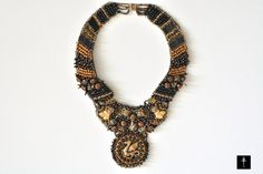 Bib Embroidery necklace with  Czech golden dragon by BYTWINS