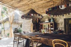 Tulum - Macondo at Nomade Hotel   Where to Eat  - Cool Beach & Design Hotels, Stylish Restaurants - Bohemian Design Inspiration, Wood Tables & Chairs, Moroccan, Rustic, Eclectic, Minimalist Dining Room & Decorating Patio Ideas --  the Mexico Travel Guide