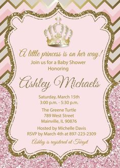 Princess Baby Shower Invitation Pink Gold Glitter Sparkle- Digital or Printed Pink And Gold Invitations, Princess Invitations, Create Invitations, Digital Invitations, Invitations Kids, Invitacion Baby Shower Originales, Baby Shower Invitaciones, Babyshower Invites, Baby Shower Themes