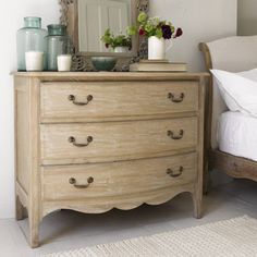 Audrie chest of drawers with Antoinette bed in natural cotton linen