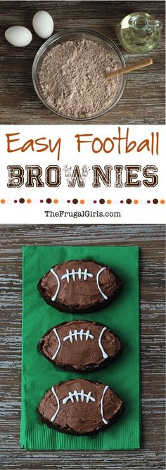 Easy Football Brownies Recipe!   These brownies are so easy to make, crazy delicious, and will be the star of your game day celebrations!! #MixUpAMoment #sponsored #ad | Recipe at: TheFrugalGirls.com