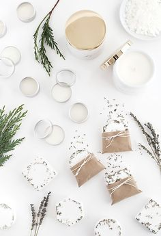 This holiday, make the essential items for creating Homemade Spa DIY Gifts with soap, lip balm and, of course, candles.