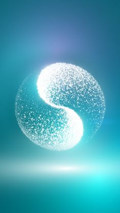 Yin-Yang; translucent, almost 3D-ish composition of sparkles on aqua and blue-green background, but without dot components within the yin or yang elements.