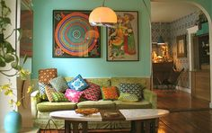 All the colours! And, the bohemian, lived-in vibe. (Linda and John Meyers' Work In Progress Home — Wary Meyers | Apartment Therapy)