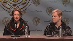 "Jennifer Lawrence in a Hunger Games skit on Saturday Night Live (with ""Peeta"")"