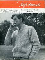 Man's V-Neck Sweater Vintage Knitting Pattern Sof-Touch 57 Mohair 40-44ins
