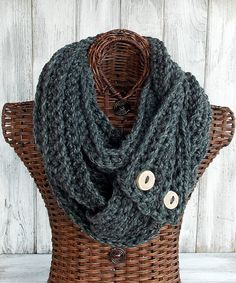 Grey infinity scarf, crocheted ribbed cowl, circle scarf, handmade natural wood buttons on Etsy, $64.00