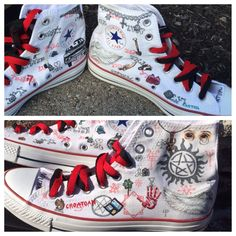 Supernatural themed custom Chuck Taylor Converse by danisalerno <<< i fucking need these Supernatural Shoes, Supernatural Chuck, Supernatural Merchandise, Supernatural Crafts, Supernatural Fashion, Castiel, Painted Converse, Painted Shoes, Custom Chuck Taylors