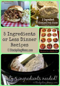 5 Ingredients or Less Dinner Recipes #easy #dinner #5ingredientsorless