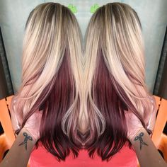 Blonde with violet red underneath